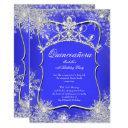 quinceanera 15th winter wonderland royal blue invitation