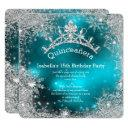 quinceanera 15th winter wonderland silver teal invitation
