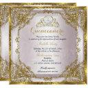 quinceanera birthday gold pearl pink damask invitation