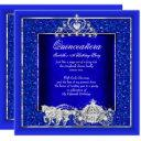 quinceanera birthday horse carriage royal blue invitations