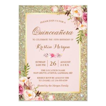 Small Quinceanera Birthday | Pink Floral Gold Glitters Invitations Front View