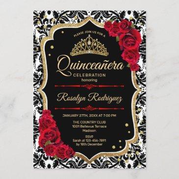 quinceanera - black gold red invitation
