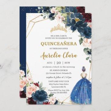 quinceañera blue burgundy blush floral princess i invitation