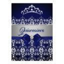 quinceanera blue navy sparkle diamond tiara bow invitations