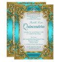 quinceanera blue teal golden pearl tiara party invitation