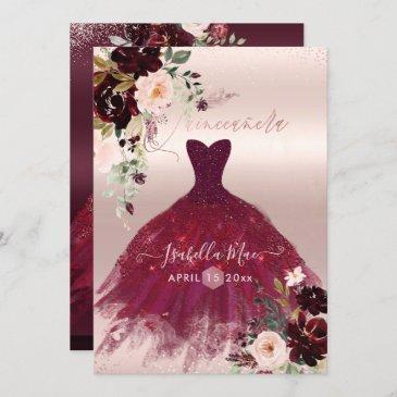 quinceanera blush burgundy watercolor flowers invitation