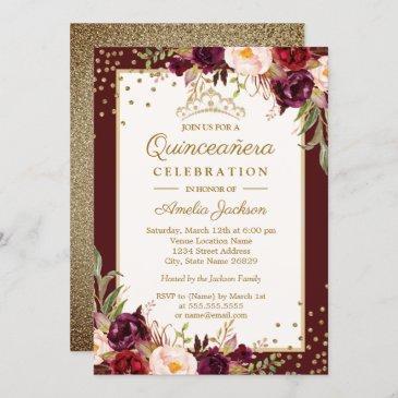 quinceanera burgundy gold floral sparkle invite