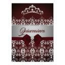 quinceanera burgundy sparkle diamond tiara bow invitation