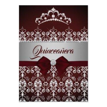 quinceanera burgundy sparkle diamond tiara bow invitations