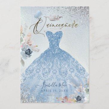 quinceanera dusty blue glitter gown butterflies invitation