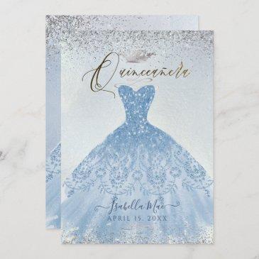 quinceanera dusty blue+silver glitter gown invitation
