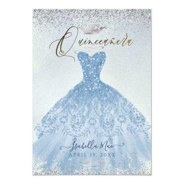Small Quinceanera Dusty Blue+silver Glitter Gown Invitation Front View