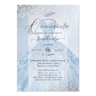 Small Quinceanera Dusty Blue+silver Glitter Gown Invitation Back View