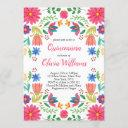 quinceanera fiesta floral mexican pink birthday invitation