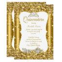 quinceanera glitter fairytale gold carriage party invitation