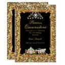 quinceanera gold black horse carriage fairytale invitations