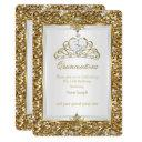 quinceanera gold glitter white pearl tiara 2 invitations