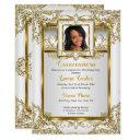 quinceanera gold white pearl damask photo birthday invitation