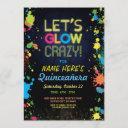 quinceanera let's glow crazy birthday neon invite