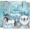 quinceanera magical princess blue horse carriage invitations