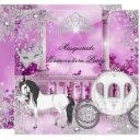 quinceanera magical princess pink horse carriage invitations