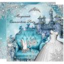 quinceanera masquerade magical princess blue invitation