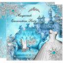quinceanera masquerade magical princess blue teal invitation