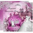 quinceanera masquerade magical princess pink invitation