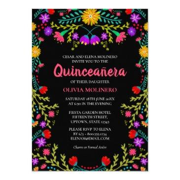 quinceanera mexican fiesta floral black birthday invitation