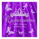 quinceanera party purple tiara butterfly invitation