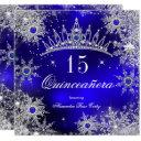 quinceanera princess royal blue snowflake tiara invitation