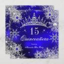 quinceanera princess royal blue snowflake tiara invitation