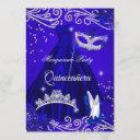 quinceanera royal masquerade blue dress heels invitation