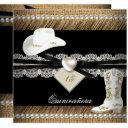 quinceanera rustic burlap cowgirl hat boots party invitations
