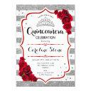 quinceanera - silver white stripes red roses invitation