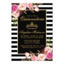 quinceanera striped pink floral gold crown invite