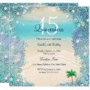 quinceanera teal blue sand ocean beach birthday 2 invitation
