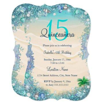 quinceanera teal blue sand ocean beach birthday invitation