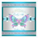 quincenera 15th white teal blue pink butterfly invitation