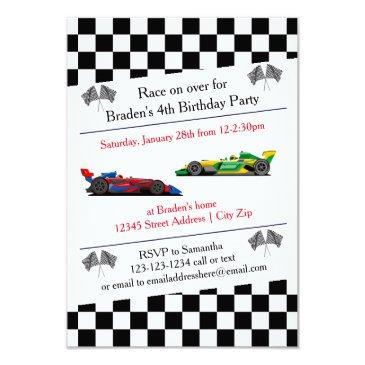race car birthday party - 3x5 invitations