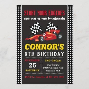 race car invitation, racing birthday invitation