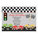 race car racecar brithday boys birthday invitation