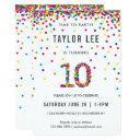 rainbow 10 year old birthday party, 10th birthday invitation