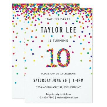 Rainbow 10 Year Old Birthday Party 10th Invitations