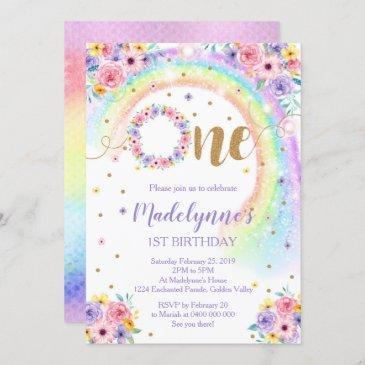 rainbow 1st birthday invitation