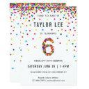 rainbow 6th birthday party, sixth birthday invitations