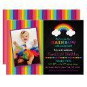 rainbow chalkboard 1st birthday invitation