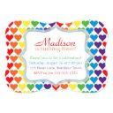 rainbow hearts birthday invitation