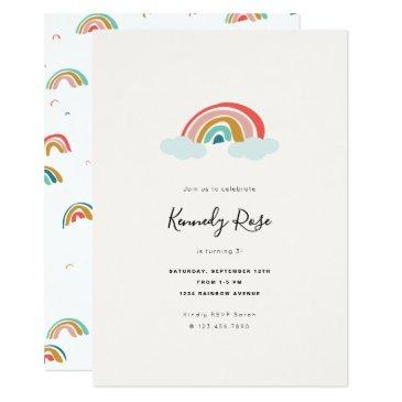 rainbow kids birthday party invitation