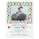 rainbow polka dots birthday party invitations